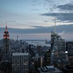 Dusk Falls on the Empire State, and Lower Manahhan