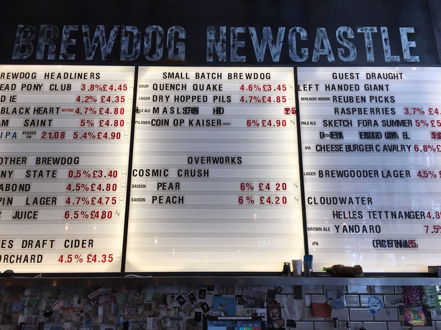 Beer Menu! Brewdog Bar, Manchester